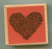 Floral Heart - Rubber Stamp with Wood Mounting