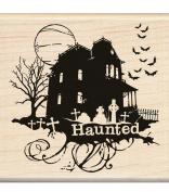 Inkadinkado Wood Mounted Rubber Stamp O, Haunted House