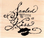 Sealed with a Kiss Wood Mounted Rubber Stamp
