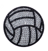 Crystal Heiress Rhinestone Sticker, Volleyball, 6.4cm , Silver/Black