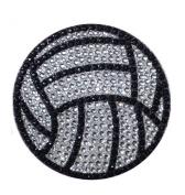 Crystal Heiress Rhinestone Sticker, Volleyball, 6.4cm , Silver/Black