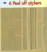 JEJE Produkt 6-Pack Peel Off Stickers with Borders Gold