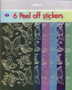 JEJE Produkt 6-Pack Butterflies Peel Off Stickers, Mirror Colour