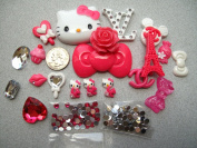 22 Mix Hot Pink HK Bling Bling Flat back Resin Cabochon Deco Kit Cell Phone