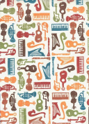 "Violin, Guitar, Harp, Saxophone Trumpet Decorative Gift Wrap Paper ""Sounds and Colours"