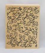 Inkadinkado Mounted Rubber Stamp, Open Holly Swirl