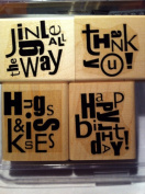 Stampin' Up Alphabet Soup Phrases Rubber Stamp Set of 4