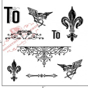 Something Tattered Fleur De Lis Bird and Arrow Clear Stamps, 10cm by 10cm
