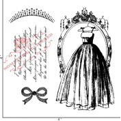 Something Tattered Dress and Tiara Clear Stamps, 10cm by 10cm