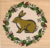Bunny Rabbit with Veggie Frame Wood Mounted Rubber Stamp