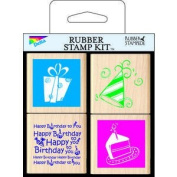 Birthday Time Wood Mounted Rubber Stamp Set