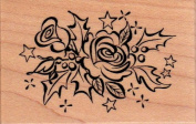 Rose and Holly Swag Wood Mounted Rubber Stamp