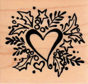 Holly Christmas Heart Wood Mounted Rubber Stamp