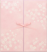 Green colour coloured paper ribbon double doors cherry tree pattern