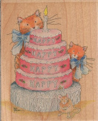 Happy Happy Happy Birthday Wood Mounted Rubber Stamp