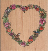 Bird Heart Border Wood Mounted Rubber Stamp