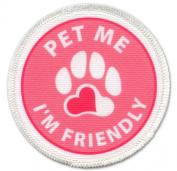Service Dog PET ME I'M FRIENDLY Medical Alert Pink 6.4cm Sew-on Patch