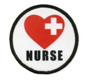 NURSE Red Heart Love Cross Heroes 6.4cm Black Rim Sew-on Patch