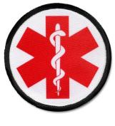 RED SYMBOL Medical Alert Symbol Black Rim 6.4cm Sew-on Patch
