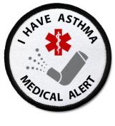 I HAVE ASTHMA Black Rim Medical Alert Symbol 6.4cm Sew-on Patch