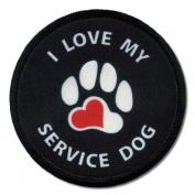 BLACK LOVE MY SERVICE DOG Medical Alert 6.4cm Sew-on Patch