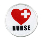 NURSE Red Heart Love Cross Heroes 6.4cm White Sew-on Patch