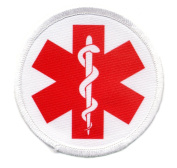 RED and WHITE Medical Alert 6.4cm Sew-on Patch
