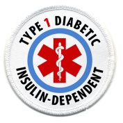 TYPE 1 DIABETIC Insulin Dependent Medical Alert 6.4cm Sew-on Patch