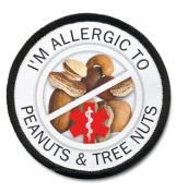 ALLERGIC TREE NUTS and PEANUTS Medical Alert 6.4cm Black Rim Sew-on Patch