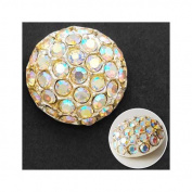 18mm Rhinestone Dome Button with Shank, Crystal AB/Silver by each