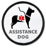 ASSISTANCE DOG Black Rim Medical Alert 6.4cm Sew-on Patch
