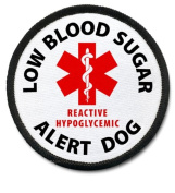 REACTIVE HYPOGLYCEMIC ALERT DOG Black Rim Medical Alert 6.4cm Sew-on Patch