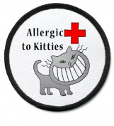 ALLERGIC TO CATS Black Rim Medical Alert 6.4cm Sew-on Patch