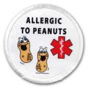 ALLERGIC TO PEANUTS Medical Alert 6.4cm White Rim Sew-on Patch
