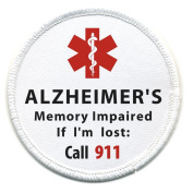 ALZHEIMER'S Memory Impaired Call 911 Alert 6.4cm Sew-on Patch