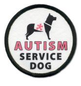 AUTISM SERVICE DOG Pink Medical Alert 6.4cm Sew-on Black Rim Patch