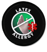 BLACK LATEX ALLERGY Medical Alert 6.4cm Sew-on Patch