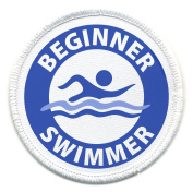 Blue BEGINNER SWIMMER Pool Safety Alert 6.4cm Sew-on Patch