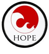 HOPE for JAPAN Earthquake Tsunami Survivors Flag 6.4cm Sew-on Black Rim Patch