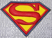 "DC Comics SUPERMAN Blue Trimmed Red & Yellow ""S"" Logo Embroidered PATCH"