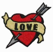 Tattoo Art Heart Arrow Name Embroidered Iron On Applique Patch - Love