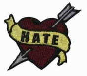 Tattoo Art Heart Arrow Name Embroidered Iron On Applique Patch - Hate