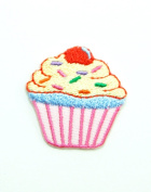 Cup Cake Embroidered Iron on Patch #021