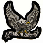 Hell on Wheels Eagle Motorcycle Biker Iron On Patch