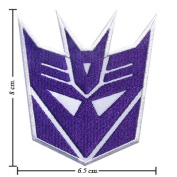 Transformers Patch Decepticon Logo Embroidered Iron on Patches Appliques Embroidered for Apparel Clothes Shirts Pants Jeans Bag Kids Men Women Ladies Girl Fashion High Quality. From Thailand