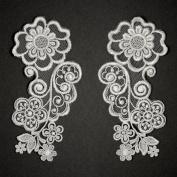 Mirror Pair Embroidery Flower Lace Applique, Bridal Applique, 15cm x 7.6cm , ROI-3904