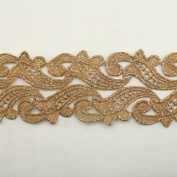 Gold Metallic Floral Flower Lace trim by the yard - Bridal wedding Lace Trim wedding fabric Millinery accent motif scrapbooking crafts lace for baby headband hair accessories dress bridal accessories by Annielov trim #73