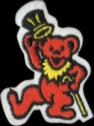 Dancing Bear - Orange Bear With Yellow Cane And Top Hat - Embroidered Iron On Or Sew On Patch