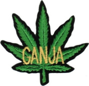 Pot Leaf - Green With Ganja In Yellow Writing - Embroidered Iron On Or Sew On Patch
