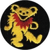Dancing Bear - Yellow With Red Necklace On Black Circle - Embroidered Iron On Or Sew On Patch